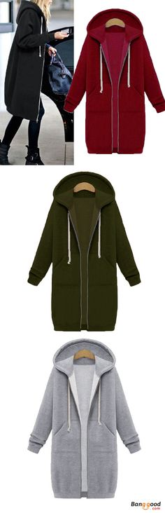 9 Colors Casual Women Long Sleeve Pockets Zip Up Hooded Sweatshirt. Casual, hooded, knee length, street style. Suitable for multi occasions, such as shopping, travel, sports, outdoor, casual. Buy now!