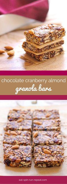 Vegan No-Bake Chocolate Cranberry Almond Granola Bars - gluten-free, naturally sweetened and SO easy to make!