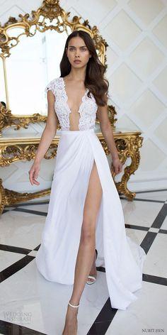 nurit hen 2016 cap sleeves deep vneck aline wedding dress (pw26) mv slit