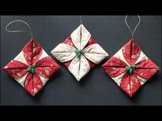 Easy folded fabric ornaments. Involves some easy sewing on a sewing machine.