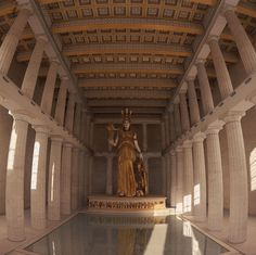 Ancient Greek Architecture. The Statue of Athena at Parthenon Athens, Greece Circa 432 B.C. 40 ft high, made of gold and ivory and designed by Phidias. Tunic was made of gold plates with the skin of ivory. Pausanias, it was said that there was an image of a sphinx was on Athena's helmet. In one hand was a 6ft statue of victory, spear in the other and shield at her feet. http://sasgreekart.pbworks.com/w/page/10150019/Parthenon—Scultpture