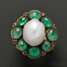 Gold, Baroque Pearl, Emerald, and Pink Sapphire Ring, Marie Zimmermann 1922