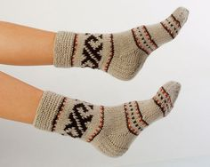 WOMAN SOCKS Cozy Chillin.  Hand knitted from natural by CozyLT, $29.00