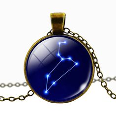 Leo Blue Cabochon Glass Constellation Necklace