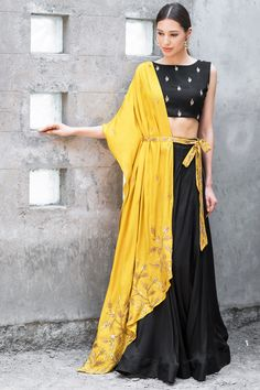 Buy Mustard & black satin cotton sequin & zari work lehenga with blouse by Prathyusha Garimella at Aza Fashions Indian Lehenga, Black Lehenga, Yellow Lehenga, Lehenga Choli Designs, Indian Wedding Outfits, Indian Outfits, Indian Dresses, Wedding Dress, Indian Attire