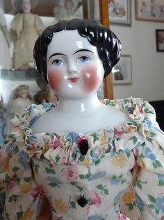 """Original Antique Black Haired 16"""" China Head Doll in Gorgeous Gown 