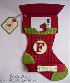 "handmade gift card holder ... ""open"" view of Christmas Stocking shaped card .... open the cuff & there's the card ... Stampin' Up!"