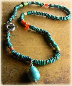 Turquoise Drop Pendant Necklace Sterling Silver OOAK | ChrysalisJewelry - Jewelry on ArtFire