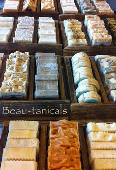Our custom made trays filled with our all-natural, goat milk soap bars, ready for the Farmer's Market.