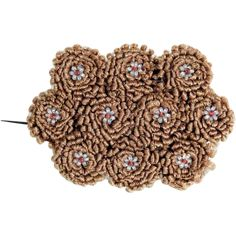 Rare Brooch Woven Hair and Glass Beads