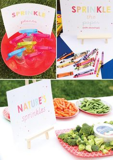 Sprinkled with love birthday party - love the sprinkle the plants water bottles.