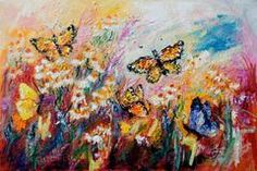 Monarch Butterflies and Chamomile Flowers Impressionist Original Oil Painting by Ginette Callaway