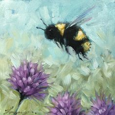 """Bee painting 4x4"""" oil on panel #art#painting #nature#bees#flowers #fineart #whimsical"""