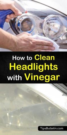 7 Simple But Effective Ways to Clean Headlights with Vinegar Learn how to clean headlights with vinegar. These DIY tips will teach you ways of using home remedies to clean car headlights. Discover how to make simple car wash cleaning solutions at home. Clean Foggy Headlights, Cleaning Headlights On Car, Cleaning Car Windows, Diy Car Cleaning, House Cleaning Tips, Diy Cleaning Products, Cleaning Solutions, How To Restore Headlights, Washing Windows