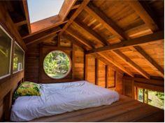 Sleeping loft in 200 sq. ft tiny house in Hawaii