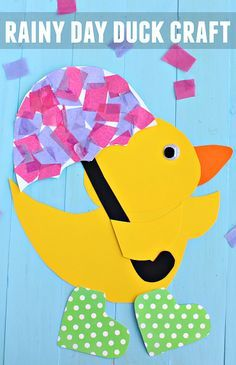Rainy Day Duck Kids Craft for Spring (Holding an umbrella and wearing rain boots) | CraftyMorning.com