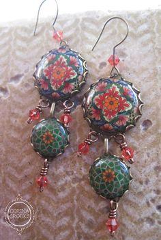 Boheemse sieraden, oorbellen, kroonluchter oorbellen, groene boho oorbellen, Mexicaanse oorbellen, Mexicaanse sieraden, Mexicaans aardewerk ontwerp