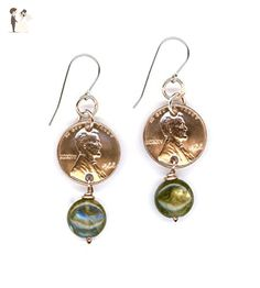 51st Birthday Gift for Her 1966 Penny Earrings Gift 51st Anniversary Gift Labradorite Beads Coin 1966 Penny 51st Birthday Gift Coins - Wedding earings (*Amazon Partner-Link)