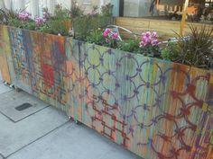 Planters to enclose exterior patio. Painted street style facebook.com/celeste.korthase