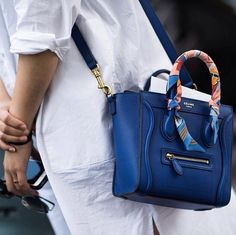 Hermes Twilly accenting the handle of a Celine bag. Lv Bags, Purses And Bags, Sacs Design, Mode Inspiration, Fashion Bags, Couture Fashion, Paris Fashion, Fashion Fashion, Runway Fashion