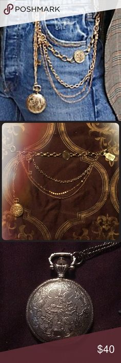 ⏱ Free People Gatekeeper Pocket Chain ⏱ This is a feminine version of the mans wallet chain ( except no wallet).Large sturdy jewelry loops connect to your belt loops and you have  5 different and unique chains and ornamentation. A working pocket watch , an old fashioned key that opens to reveal a locket, a vintage looking coin and all of the chains are different for great visual interest. A great piece of body/clothing jewelry. Free People Jewelry