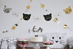 Amelia's kitty cat birthday party. and like OMG! get some yourself some pawtastic adorable cat apparel!
