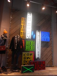 Use of lighting as a way finding tool in Urban Outfitters, located in a prime position on the shop floor near the entrance. Leeds, September 2014