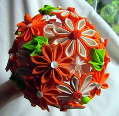 Bouquet, via Flickr. Tsumami kanzashi style flowers. 2011