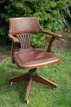 Antique Captains Chair, Dated 1915 Antique Swivel Armchair, Vintage Office  Chair