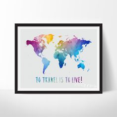 - Description - Specs - Processing + Shipping - To Travel Is To Live, Travel Quote World Map Watercolor Art Print. Display your love for travel and culture with fun unique watercolor cityscapes, skyli Première Communion, World Map Art, Water Color World Map, Adventure Is Out There, Adventure Awaits, My New Room, Travel Quotes, Travel Pictures, Illustrations