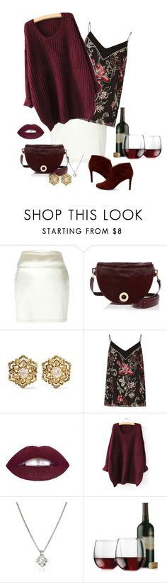 """""""Untitled #48"""" by jaimeishere ❤ liked on Polyvore featuring Romeo Gigli, Halston Heritage, Fred Leighton, River Island, Forzieri, Libbey, Sole Society, wine, burgundy and WineWednesday"""
