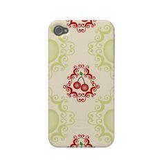 Vintage cherry pattern cherries foodie iphone 4 4S case  cover - back to school rockabilly foodie gift $39.95 #apple #iphone #iphonecase #iphonecover