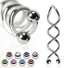 Industrial Piercing Barbell Spirale Stahl 1,6mm Ohrpiercing NEU NEU