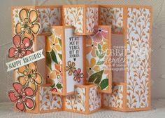 """The Concertina Card Fold has been on my """"to try"""" list for a long time and I'm finally getting around to it. Do you save ideas and they seem to sit there because there is so much to create in the stamp Tri Fold Cards, Fancy Fold Cards, Folded Cards, Card Making Tutorials, Card Making Techniques, Cricut Cards, Stampin Up Cards, 3d Templates, Tarjetas Pop Up"""