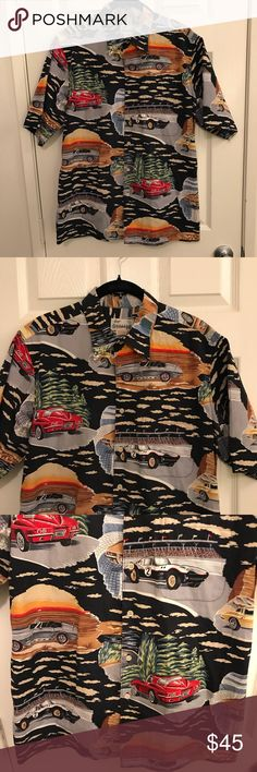 Reyn Spooner Classic muscle Car shirt M Reyn Spooner Classic Muscle Car Button down Hawaiian inspired shirt.  Size M  100% Cotton  Gently used no holes or stains.   Features classic cars on the in several different settings such as the beach, the race track, and a more nature looking scene. Reyn Spooner Shirts Casual Button Down Shirts