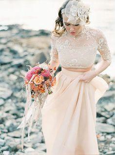 Reem Acra wedding dress; photo: 2 Brides Photography via One Fab Day