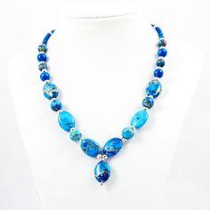 Stunning Blue Imperial Jasper Necklace