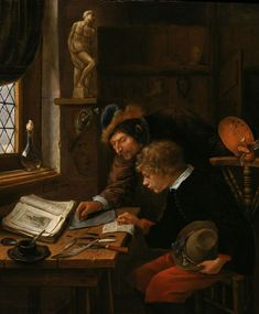 via  @DrLivGibbs  The Drawing Lesson: A Master Correcting a Pupil's Drawing by Jan Steen c. 1665-6 (@YaleArtGallery).
