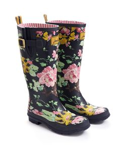 WELLY PRINT Womens Printed Wellies, Navy Floral // Joules | Shoes ...