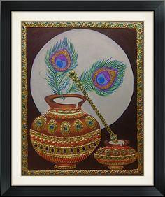 Flute and Pot Tanjore Painting, Krishna Painting, Flute, Ideas, Art, Art Background, Flutes, Kunst, Gcse Art