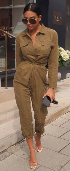 11abe6e16c cool casual outfit   olive jumpsuit + heels Olive Jumpsuit