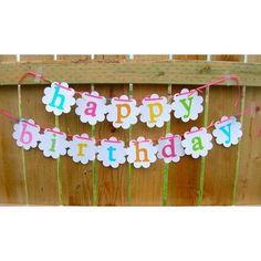 White Simplistic Happy Birthday Banner by annemarie303 on Etsy