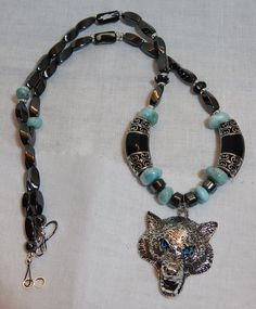 Bold Wolf Head Necklace Statement Jewelry by DeanasQuiltsandMore