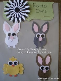 Easter animals made with owl punch: chick, bunny, mouse, kitty