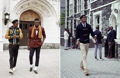 I think the one on the right is a perfect example of how important the person inside the clothes is. That outfit wouldn't look so right if he didn't walk that way. Ivy Style, African American Men, Well Dressed Men, Preppy Style, Black People, That Way, Dapper, Boy Outfits, New Look