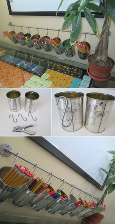 Tin Can Pencil Holders on an Ikea Rack. Would great decorated.