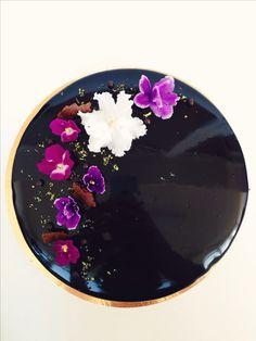 Entremet. Chocolate & almond sponge, lime cremeux, chocolate mousse, almond joconde, dark chocolate mirror glaze.