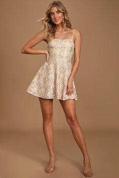 You'll always take the gold in the Lulus All That Glimmers Champagne Lace Skater Dress! Stunning white and champagne floral lace skater dress. Hoco Dresses, Dresses For Teens, Homecoming Dresses, Cute Dresses, Casual Dresses, Fashion Dresses, Graduation Dresses, Dance Dresses, Fashion Clothes