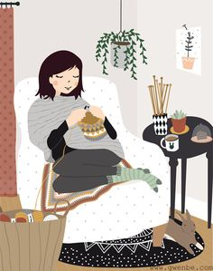 Gwenbe Gwenbe Always wanted to discover how to knit, nevertheless not sure the place to begin? This kind of Utter Beginner Knit. Knitting Quotes, Knitting Humor, Crochet Humor, Art Au Crochet, Knit Art, Illustration Mignonne, Cute Illustration, Tricot D'art, Art Mignon