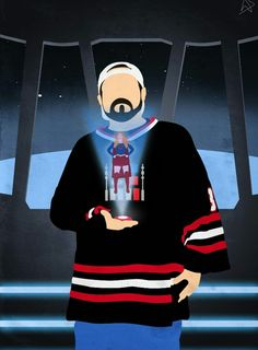 Kevin Smith Holding Bounty  Hologram Of Supergirl